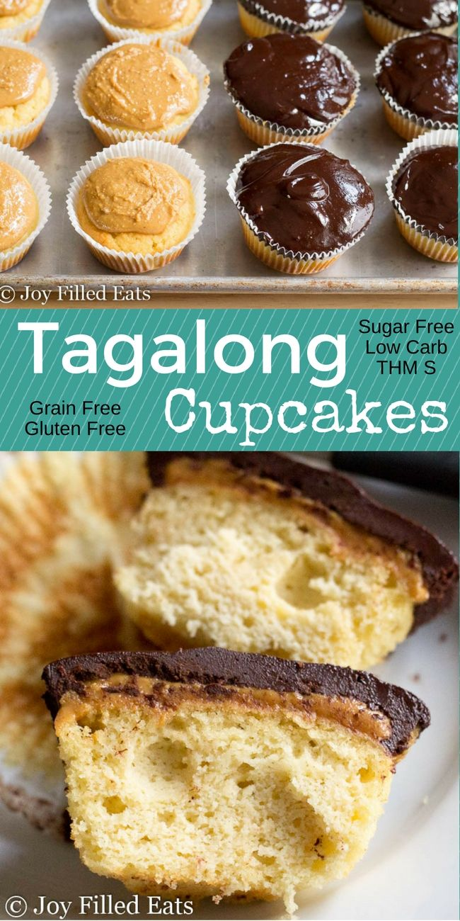 These Tagalong Cupcakes have fluffy grain free yellow cake covered with peanut butter and chocolate ganache. You'll never miss Girl Scout cookies again. Low Carb, Grain/Gluten/Sugar Free, THM S  via @joyfilledeats