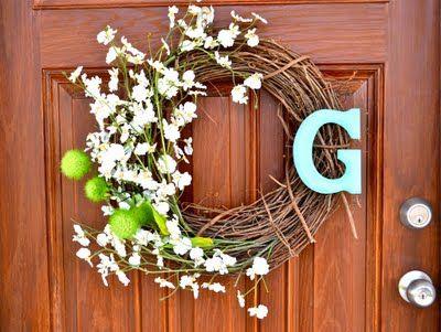 Spring: Front Door Wreaths, Diy Crafts, Initial, Wreath Ideas, Front Doors, Spring Wreaths, Craft Ideas, Summer Wreath