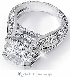 burke 4 carat round cubic zirconia pave set cathedral split shank solitaire engagement ring in white gold or platinum by ziamond cubic zirconia jewelers - Cz Wedding Rings