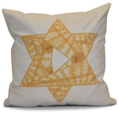 """The Holiday Aisle Hanukkah 2016 Decorative Holiday Geometric Throw Pillow Size: 18"""" H x 18"""" W x 2"""" D, Color: Gold"""