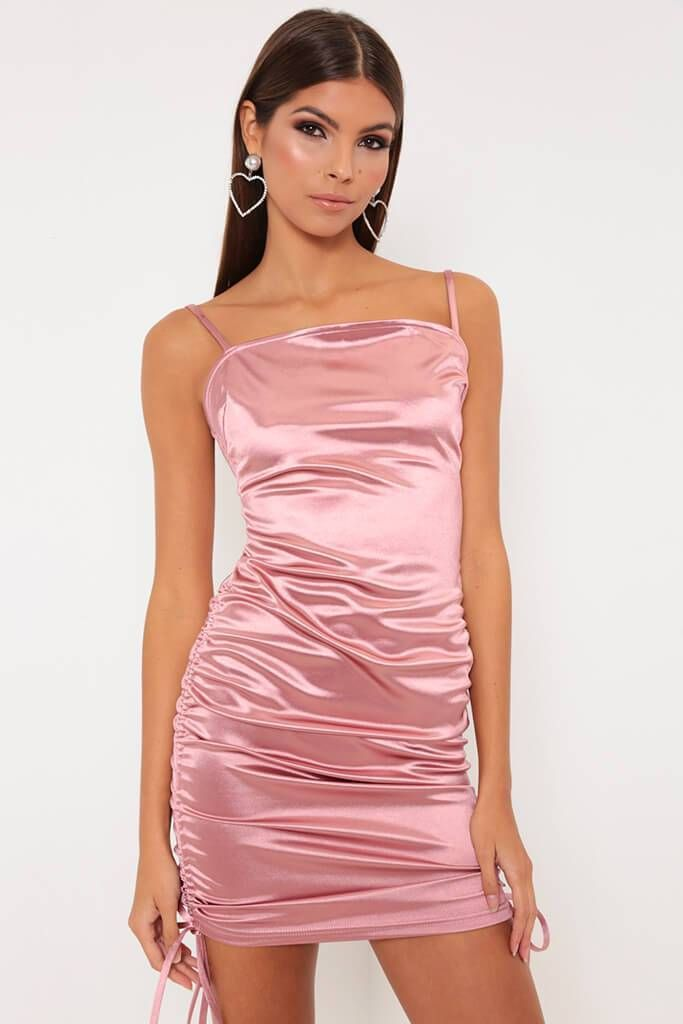8d1cca4a6883 Rose Ruched Side Detail Satin Mini Dress view main view | style in ...
