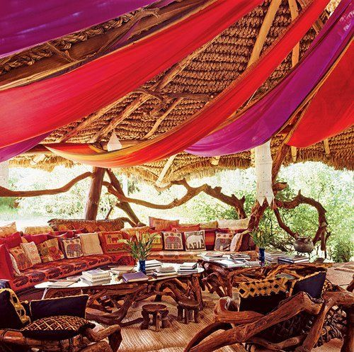 note to self: transform existing deck into a book scattered african safari/moroccan tent ...