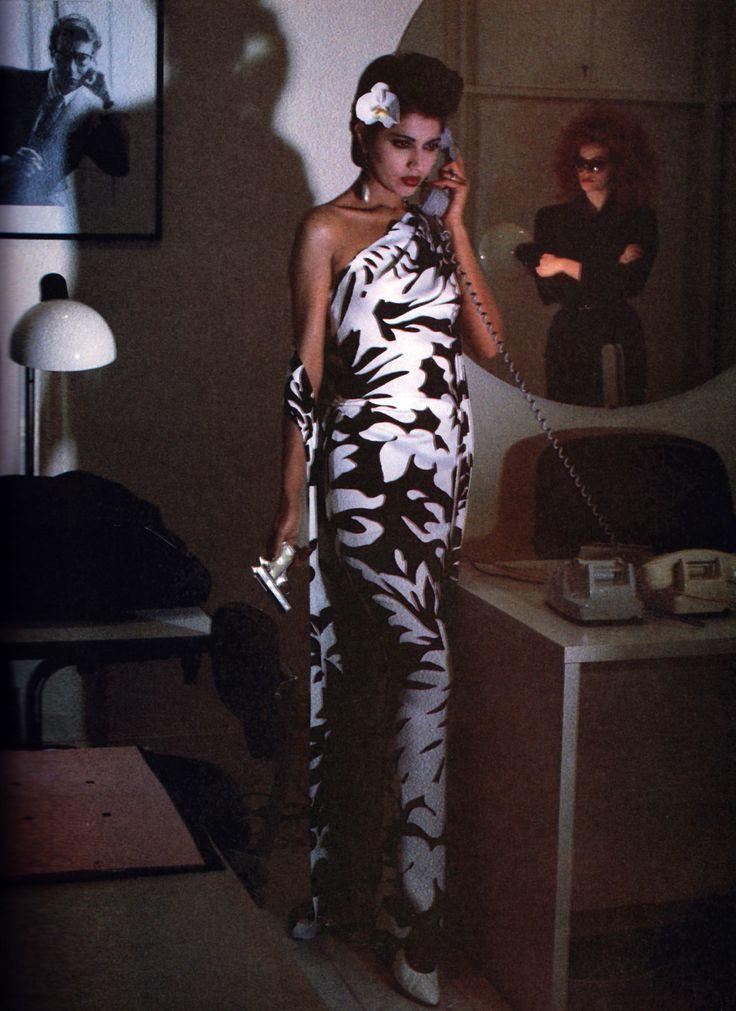Kirat Young Yves Saint Laurent Rive Gauche, American Vogue, March 1985. Photograph by Helmut Newton.