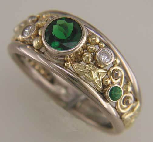 custom celtic ring with tsavorit - Medieval Wedding Rings