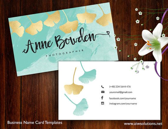Ginkgo Leaves name card, Name Card Template, Ginkgo Leaves name card gold and Aqua Color by aiwsolutions on Etsy #ginkgo #namecard #