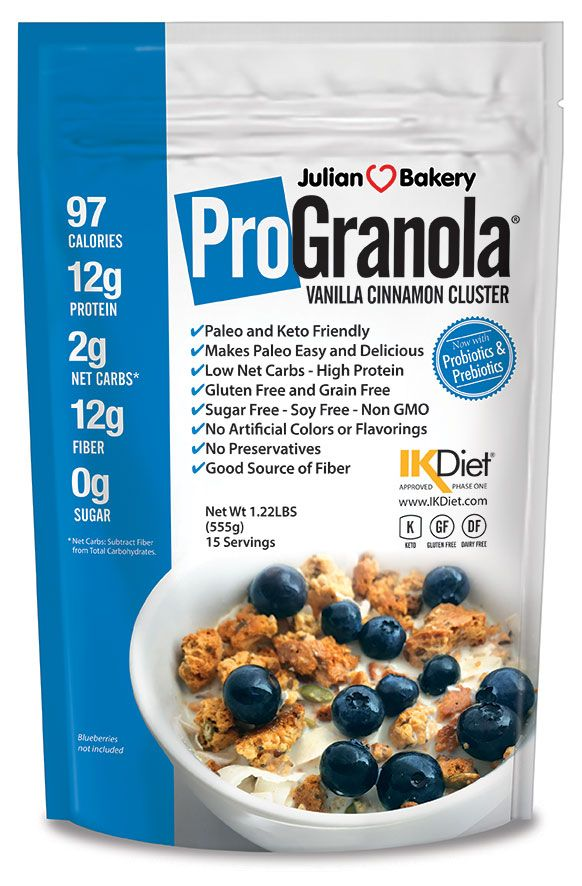 Delicious High Protein Granola Cereal (Gluten Free, Grain Free, Soy Free) 	1 Bowl (37g)= 97 Calories, 12g Egg White Protein & 2 Net Carbs (GMO Free) 	Low Carb, High Fiber, and High In Protein (15 Servings Per Bag) 	Delicious, Crunchy, Vanilla Cinnamon Taste That Curbs Appetite Without Bloating 	IKDiet Compliant (Phase 1 & 2) Organic Seeds, No Junk (Sugar Free : Monk Fruit Sweetened)