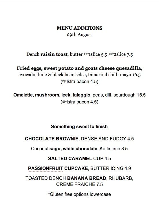 Menu additions 29th August.