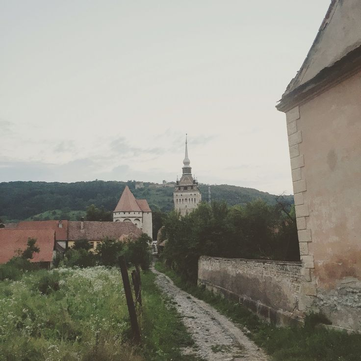 Saschiz sunset view towards the fortified church