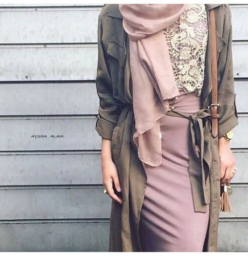 Pinterest: @eighthhorcruxx. Lace shirt, blush pink skirt, khaki jacket More