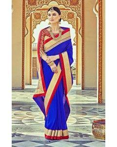 Royal Blue Satin Silk Partywear Saree