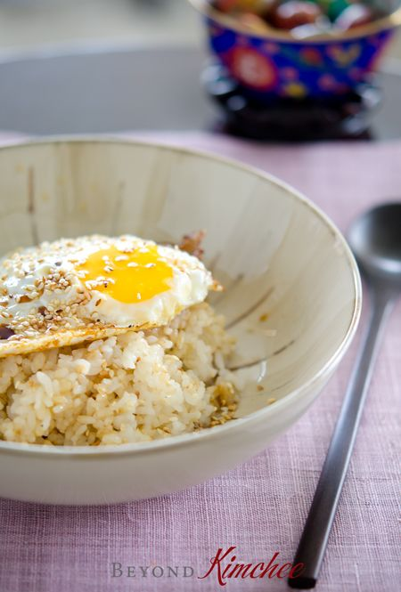 Super easy and quick express rice bowl with fried egg, butter, soy sauce, and sesame oil