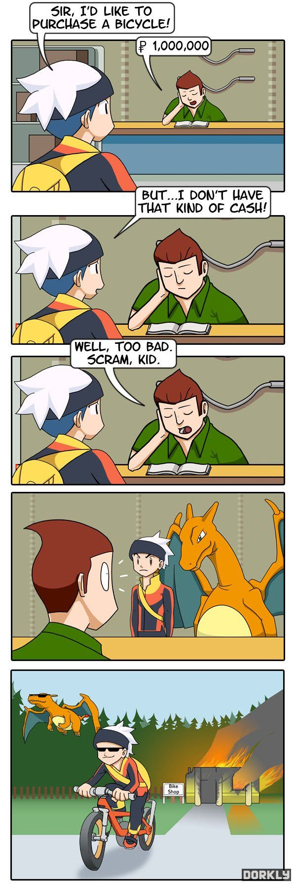 See, I always chose Charmander as my starter Pokemon. What happened to the bike voucher though?