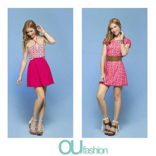 O pink ganha status fashion no print geométrico e na sobreposição, com florais fashionistas!  #oufashion #verão2017 #teen #thinkpink