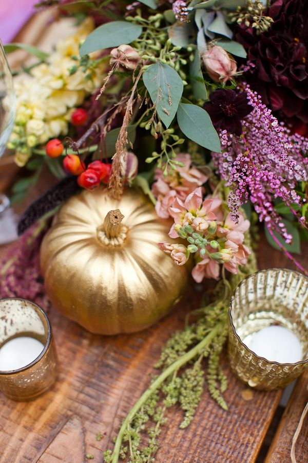 Plum and Gold Wedding Inspiration - gold pumpkins