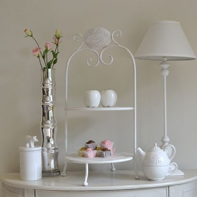 Antiqued white 2 tier cake stand.