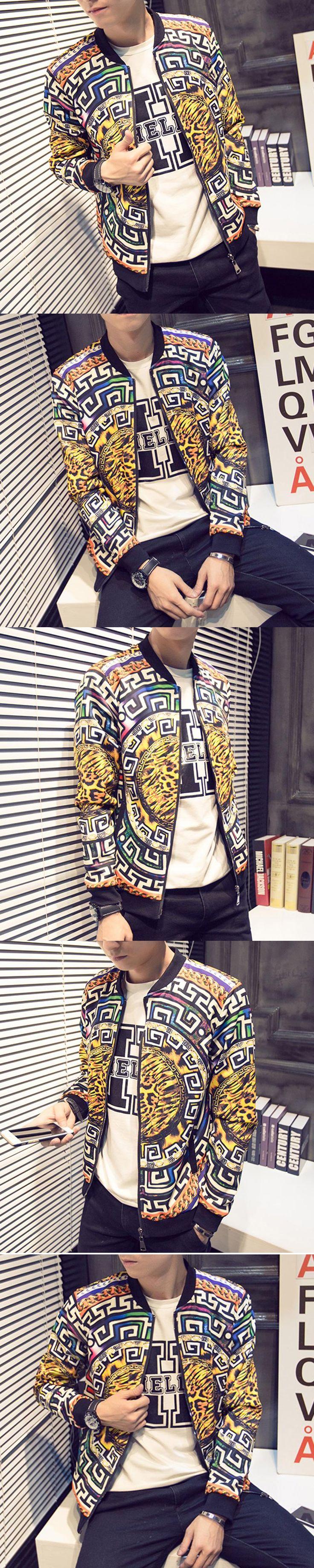 New 2016 autumn chinese style fashion geometry and leopard print bomber jacket men veste homme men's clothing size m-4xl JK3-1