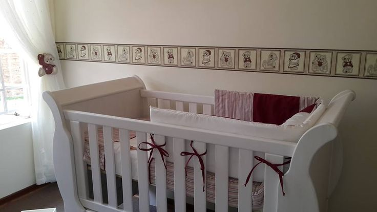 Tatty teddy nursery decor, complements beautifully with white wash cot and compactum. Linen, mosquito nets, wall borders available in SA.  for more info and prices. www.facebook.com/borderboutique.co.za