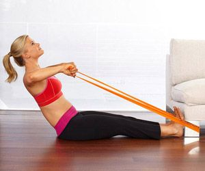 Couch Workout: Alison Sweeney, Resistance Bands Arm Workout, Sweeney Couch, Fit Magazines, Arm Resistance Bands Workout, Home Workout, Workout With Resistance Bands, Couch Workout, Arm Bands Workout