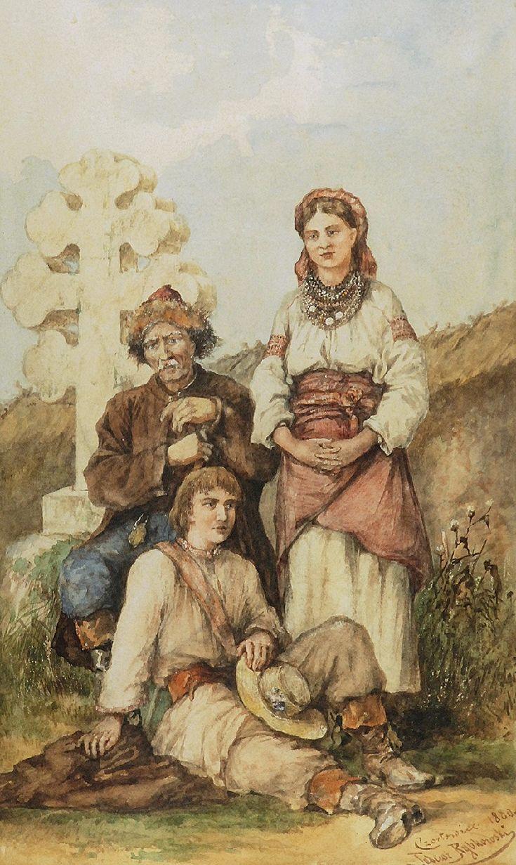 Tadeusz RYBKOWSKI (1848-1926)  Pod krzyżem, 1880 akwarela na podrysowaniu ołówkiem, papier;  45,5 x 27,5 cm (w świetle oprawy);