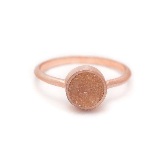 Pale Pink Druzy Quartz Ring