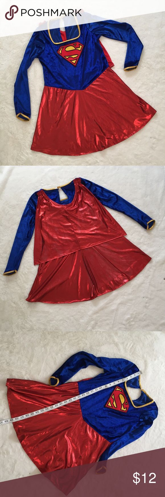 Superman costume only Large girls Gently used. Minor pulling fabric damage no cape only costume. Costumes Superhero