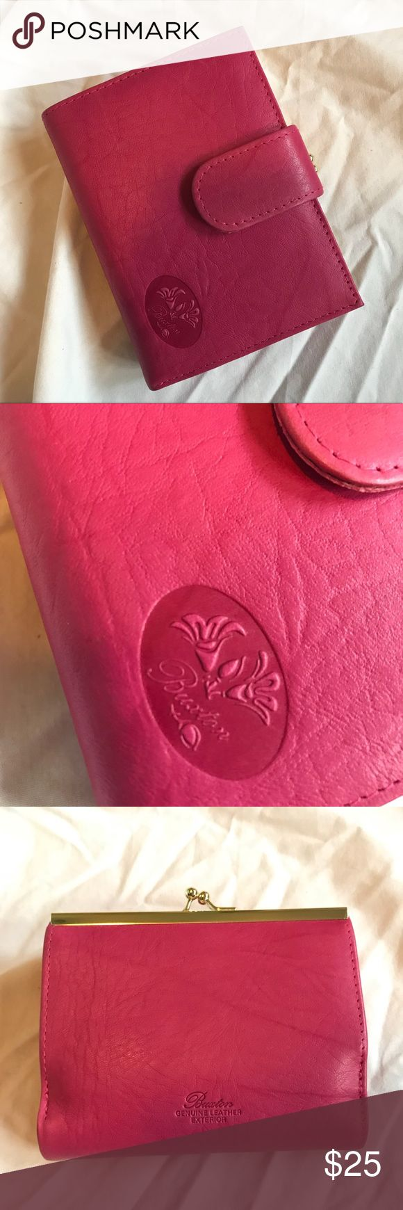 Pink Burton Wallet BRAND NEW! Never used pink leather wallet by Burton. This wallet has two buttons for the snap, lots of credit card slots, a clear slot for your ID, two pouches for bills and a change pouch with a divider in the middle. No trades, offers welcome. Burton Bags Wallets
