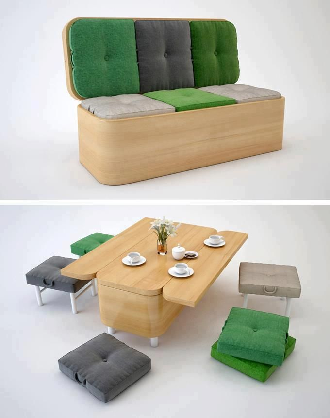 Cool wooden sofa bench with storage folds out to convert into low table with cushions as floor seating or optional short stools - looks like fold out legs! #smallspaces