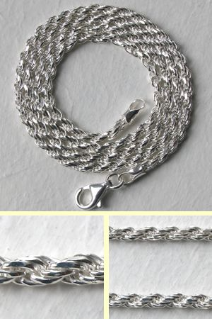 2.25mm Sterling Silver Diamond Cut Rope Chain