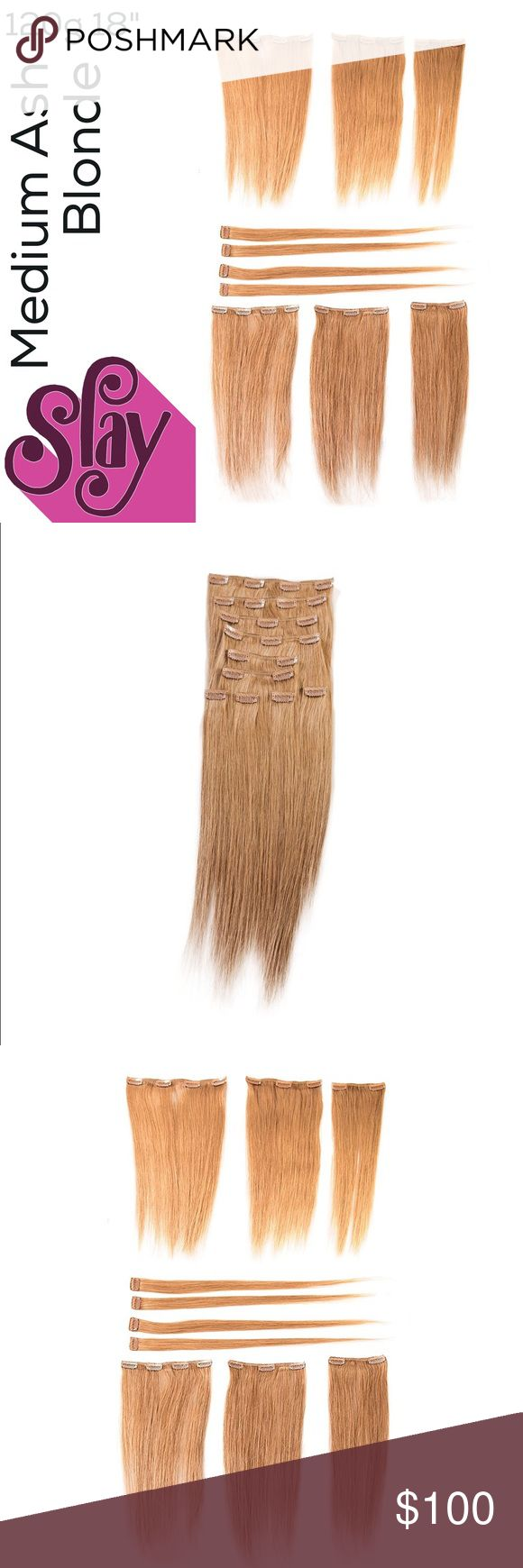 """Flash sale! Medium Ash Blonde human extensions 18"""" 120g, Set contains 10 pieces (in widths): One 9"""" piece, two 6"""" pieces, one 7"""" piece, two 4"""" pieces, and four 1.5"""" pieces and a sample strand for dye test. Human hair, heat safe, washable. Straight style, still in hairnet bag. Can be dyed with semi-permanent dye. Offers only through offer button. Paying for a hysterectomy in my 20's  so be reasonable, please. sono Other"""