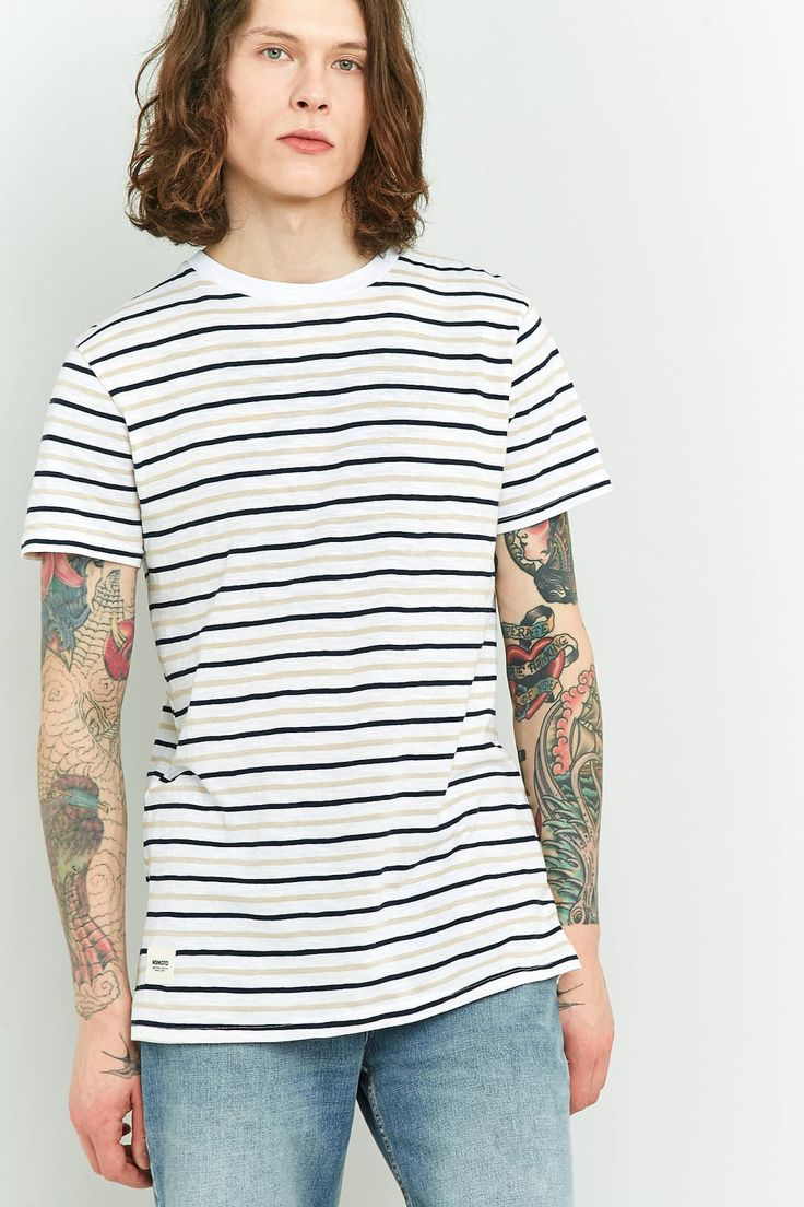 Wemoto Cope White and Peach Striped T-shirt | Urban Outfitters | Men's | Tops | T-shirts #UOEurope #UrbanOutfitters