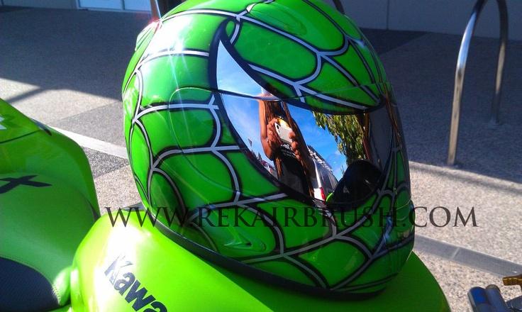 Kawasaki Green Airbrushed Spiderman Helmet High Quality