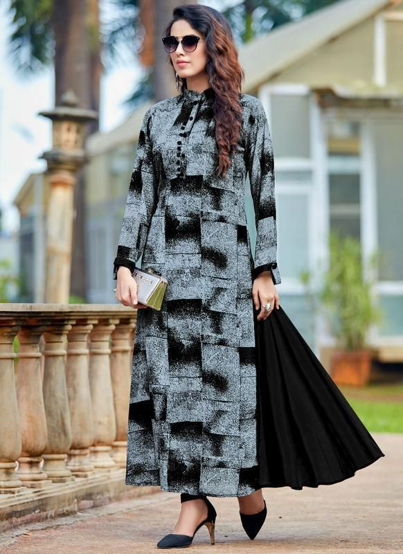 8f97d101339 Impressive Black And Grey Designer Party Wear Kurti -- miraamall