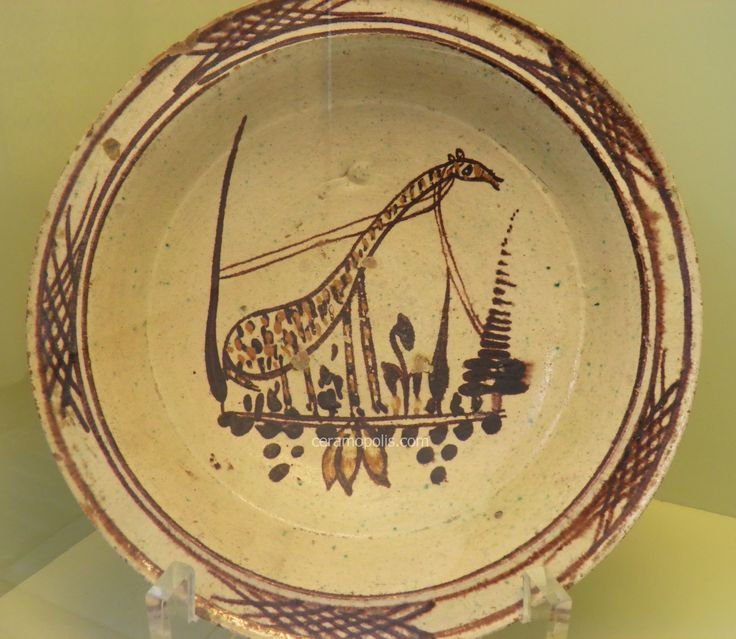 Canakkale Pottery – Ceramic Plate with Giraffe Figure 19th