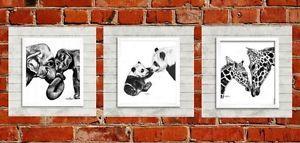 Mother-and-Baby-Elephant-Giraffe-Panda-nursery-prints-mummy-and-baby-art