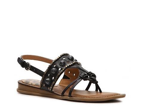 Cozy Fresh Women Bare Traps Diamond Wedge Sandal Black - H9T209597