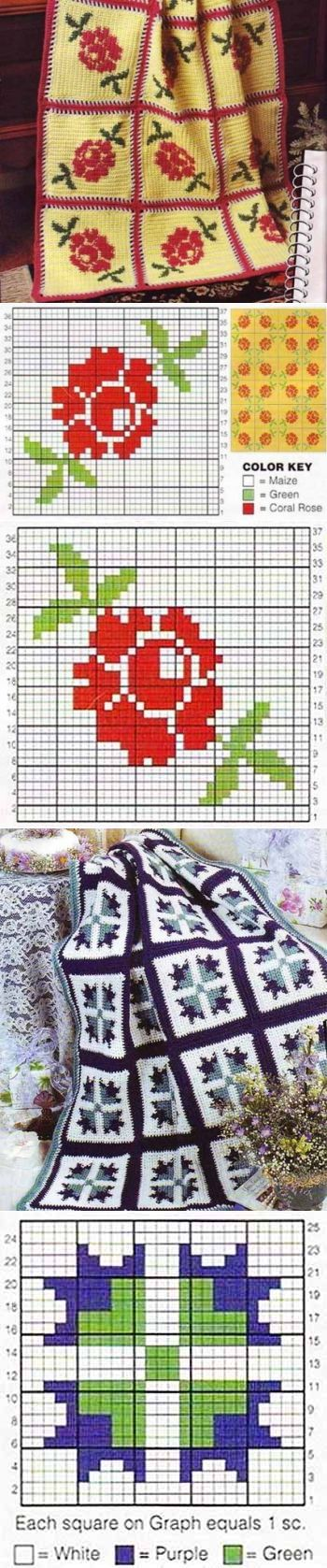 Плед из квадратов с цветами ...♥ Deniz ♥