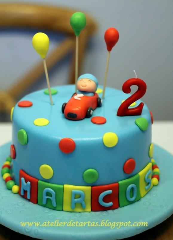 Tarta Fondant Cumpleaños Pocoyo en su coche