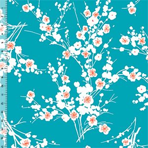 Teal Orange Cherry Blossom Floral Cotton Jersey Blend Knit Fabric