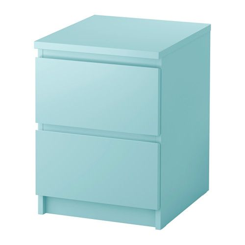 """MALM 2-drawer chest - light turquoise, 15 3/4x21 5/8 """" - IKEA  Nightstand comes in different colors $55"""