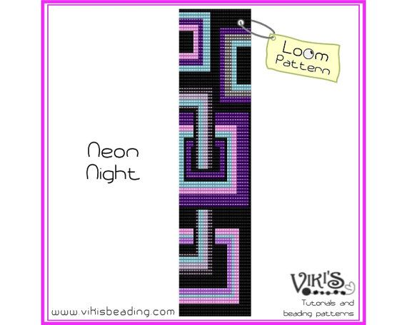 Loom Bracelet Pattern: Neon Night - INSTANT DOWNLOAD pdf - Buy 2 Get 1 free with coupon codes -  bl222 on Etsy, $6.50