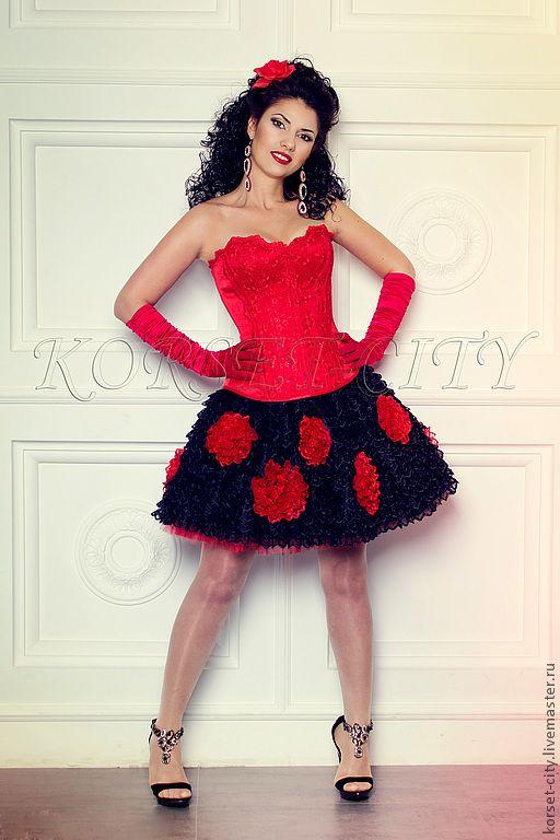 """Купить Юбка """"Любовный романс"""" - чёрный, черно-красный, Праздничный наряд, корсет, алые розы"""