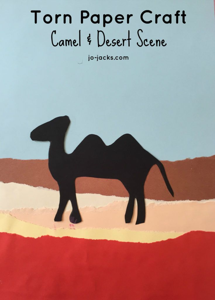 Torn paper camel crafts for kids. Simple and fun.  For teaching about middle east, camels, and desert. حرفة الجمل