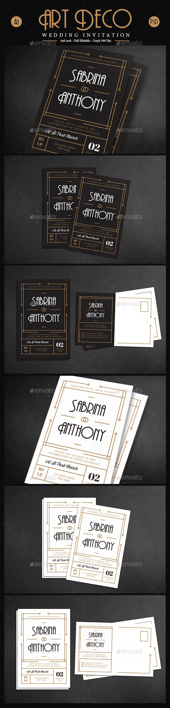 Art Deco Wedding invitation / Card Template PSD, AI Illustrator. Download here: http://graphicriver.net/item/art-deco-wedding-invitationcard-vol-03/15992145?ref=ksioks