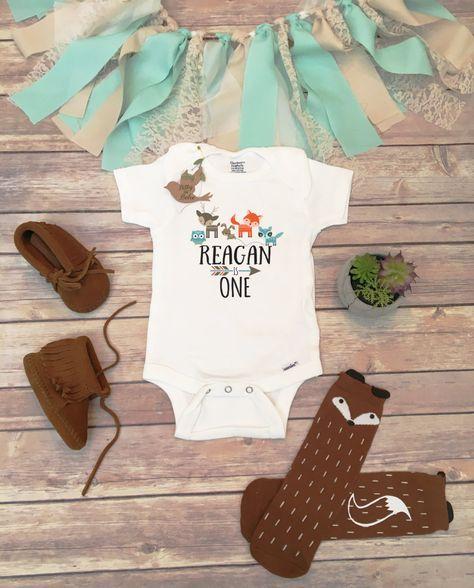 First Birthday Boy, Birthday Onesie®, Boho Birthday TShirt, First Birthday Outfit, Woodland Animal Birthday Party Theme, Fox Birthday Boy