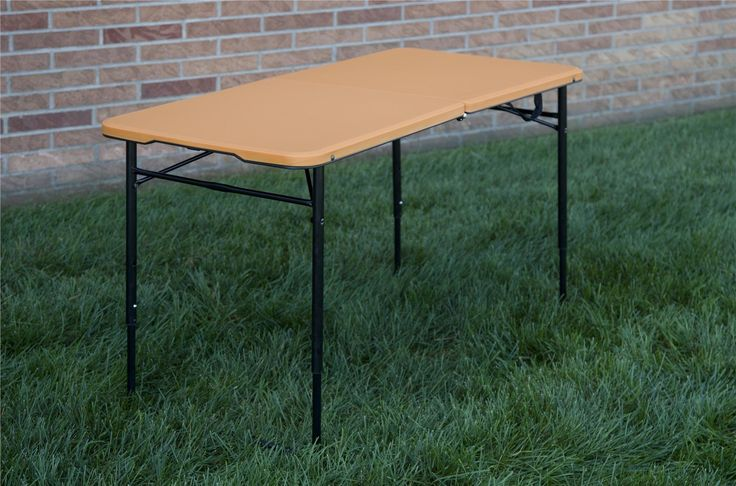 Indoor/Outdoor Adjustable Height Center Fold Tailgate Table with Carrying Handle