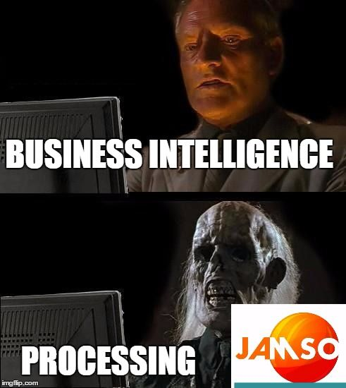 Ill Just Wait Here , thats the problem with large files and slow processing power. #businessintelligence #bi #data . The business intelligence challenge. Meme created by JAMSO : http://www.jamsovaluesmarter.com