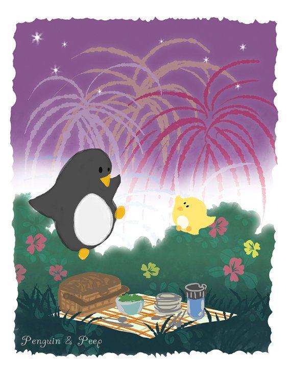 Celebrate the 4th with this fun print!  Fireworks Art Print 8.5x11 Penguin & Peep by subarashii on Etsy