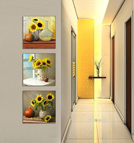 SZ Sunflower Wall Art, Beautiful Floral Still Life Canvas Prints Wall Decor for  Yellow wall art is a truly beautiful bold and vibrant way to incorporate yellow decorative accents into your home.  In fact, yellow home décor is becoming increasingly popular because people like yellow wall art, yellow wall clocks and even yellow canvas wall art to deck the walls of their home.  Even more cool is the new Yellow Tempered glass home décor as its cute, charming and simply adorable.
