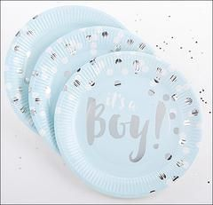 It's A Boy! Baby Blue And Silver Foil Paper Plates Set of 48