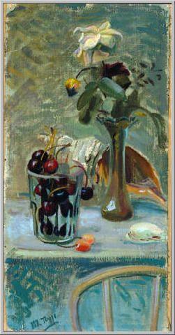 Mario Tozzi 1944: Conchiglia e Fiori. Olio su Tela cm.60x31 - Collezione Privata Svizzera - Archivio n.771 - Catalogo Dipinti n.44/9.